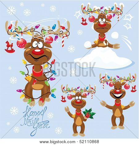 Set Of Four Funny Rein Deers With Christmas Lights Tangled In Antlers - Cartoons With Different Emot