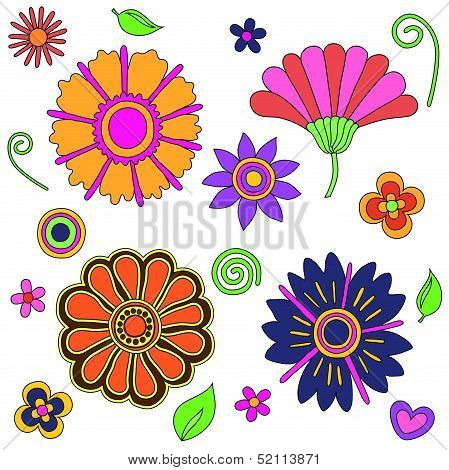 groovy psychedelic flowers set