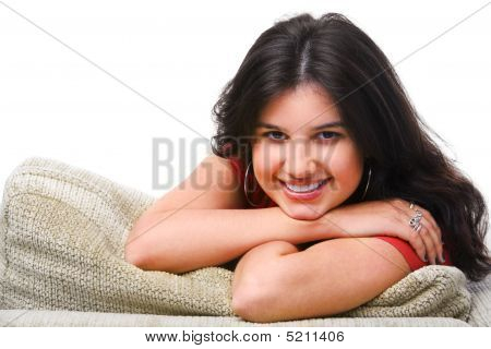 Female Teenager Pose On The Sofa