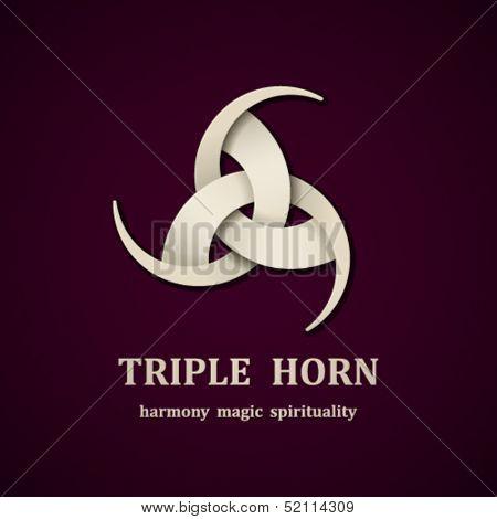 vector Celtic triple horn symbol design template