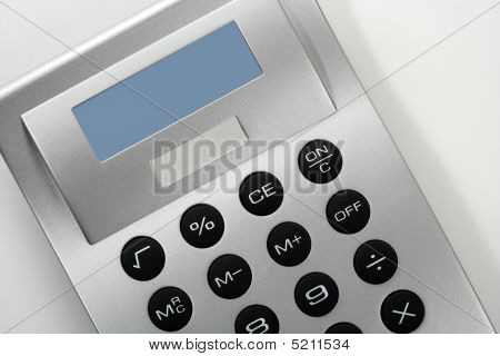 Calculator In Gray Silver Color With Solar Cell