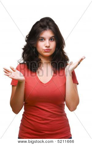 Female Teenager Expressing Don't Know