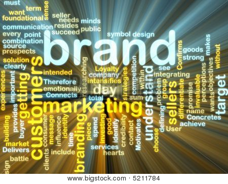 Wordcloud de Marketing de marca que brilla intensamente