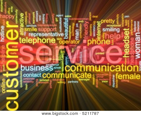 Customer Service Word Cloud Glowing