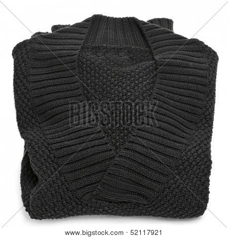 a black wool sweater on a white background