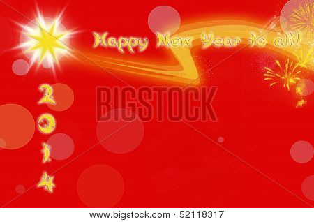 2014 Christmas Card On A Red Background With Space For Text