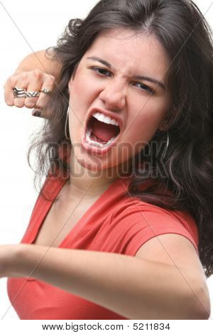 Young Female Expressing Her Anger