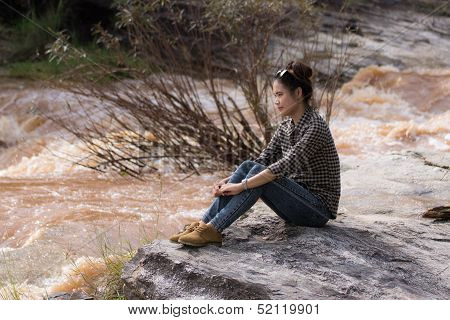 Asian Beauty Portrait At Cataract