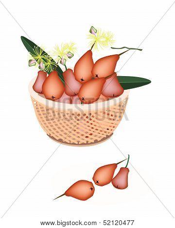 Brown Basket Of Red Water Apple