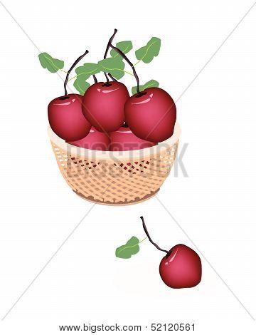 Brown Basket Of Fresh Stack Of Apple