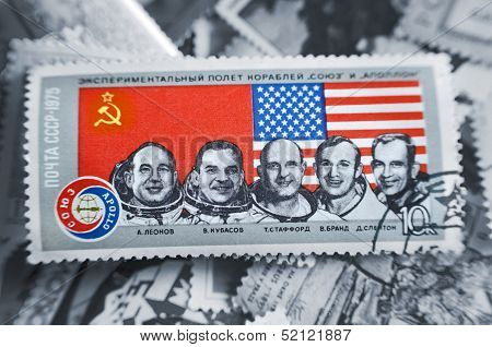 Soviet Union - Circa 1975: A Stamp Printed In Soviet Union Shows Soyuz And Apollo Space Programs.
