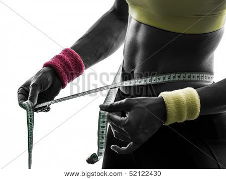 close up  one  woman exercising fitness measuring with tape measure in silhouette  on white background