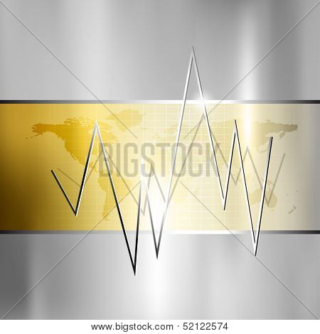 Finance background - stock market graph - silver gold business chart