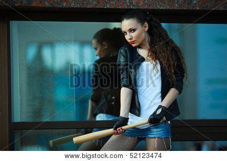 girl with a bat