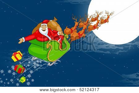 Santa flying in Sledge