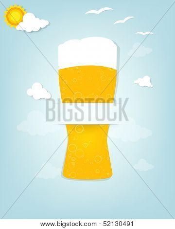 Creative poster with a glass of beer