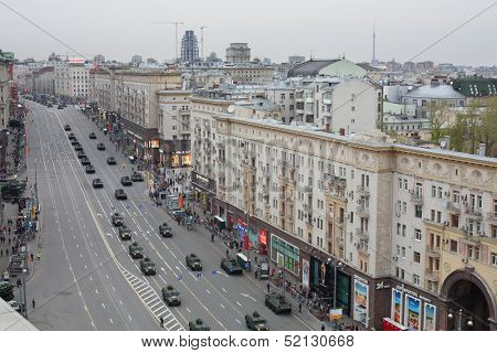 MOSCOW - MAY 3: Top view on Tverskaya street during a rehearsal for the Victory Day parade on May 3, 2013, Moscow, Russia