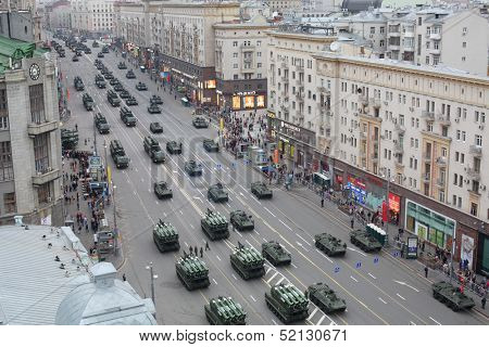 MOSCOW - MAY 3: Land-based military equipment at the rehearsal of Victory Day parade on Tverskaya street, May 3, 2013, Moscow, Russia. Parade was attended by 101 pieces of equipment