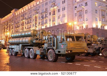 MOSCOW - MAY 3: Russian anti-aircraft missile system large-range and medium-range - air defense missile system Triumph (C-400) on rehearsal of the Victory Day parade on May 3, 2013 in Moscow, Russia