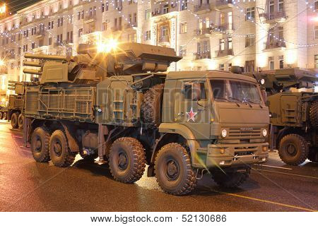 MOSCOW - MAY 3: Russian self-propelled anti-aircraft missile and gun system Pantsir-C1 on rehearsal of the Victory Day parade on May 3, 2013, Moscow, Russia