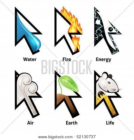 Awesome cursor set with elements of life