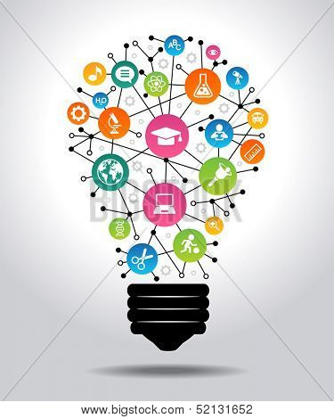 The concept of effective education. Light bulb with colorful education icon. File is saved in AI10 E poster