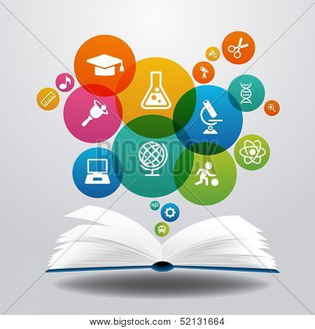 Open books and icons of science. The concept of modern education, File is saved in AI10 EPS version. This illustration contains a transparency