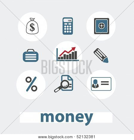 money, bank icons set, vector