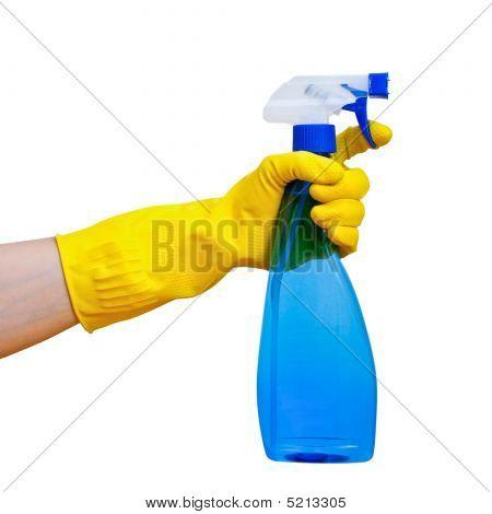 Hand Holding Spray Bottle