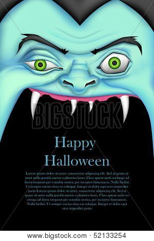 illustration of screaming monster for Halloween message