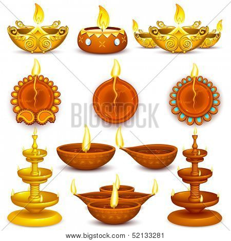 illustration of collection of Diwali decorated diya