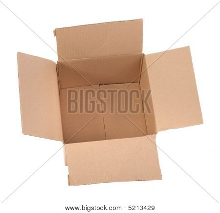 Open Cardboard Box On White