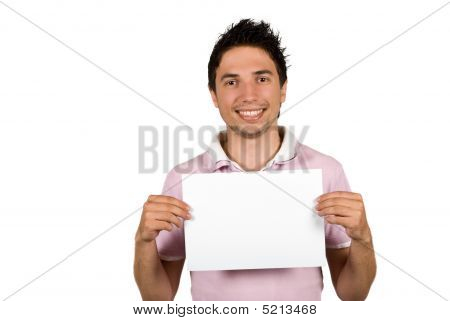 Young Man Holding A Blank Page