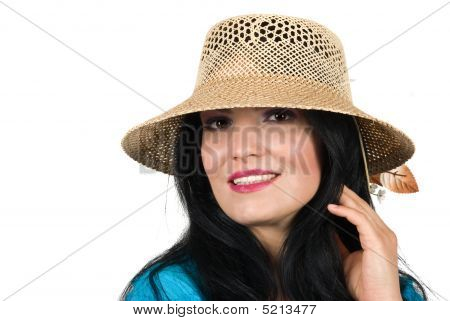 Beautiful Fashion Woman With Summer Hat
