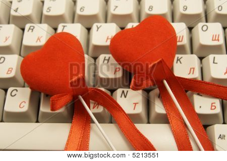 Hearts On White Keyboard