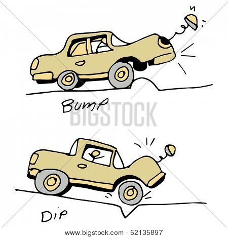 An image of a car hitting a bump and dip in the road.