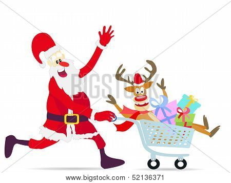 Santa Claus Pushing Shopping Cart With Deer And Gifts