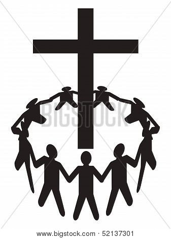 People Gather Around A Cross