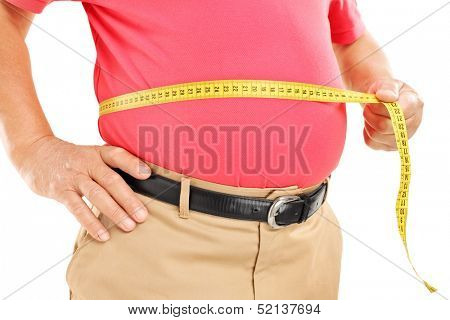 Fat mature man measuring his belly with measurement tape, isolated on white background