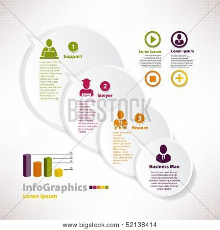 Modern Infographic Template For Business Design With Speech Baloon