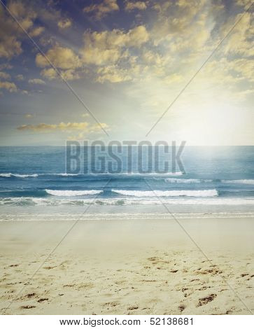 Sand, surf and sun beach scenery