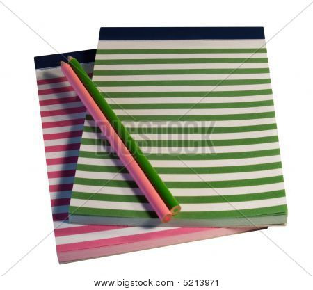 Colorful Striped Notepads And Pencils