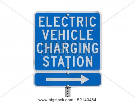 Electric vehicle charging station sign isolated with clipping path.
