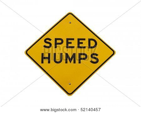 Speed humps road sign isolated with clipping path.