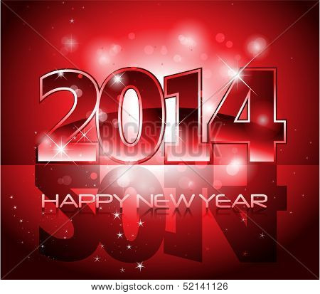 Vector Happy New Year 2014 red colorful background eps 10