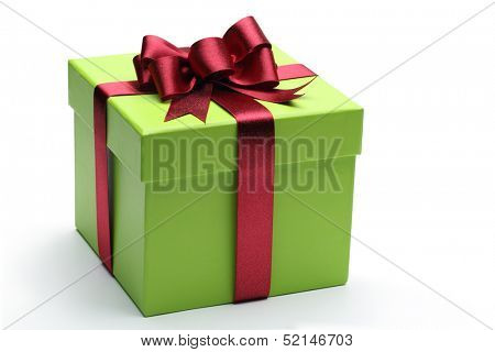 Green gift box with red ribbon and bow