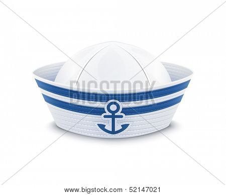 Sailor cap. vector illustration isolated on white background EPS10. Transparent objects and opacity masks used for shadows and lights drawing