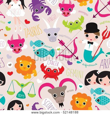 seamless constellation horoscope zodiac signs illustration pattern background in vector