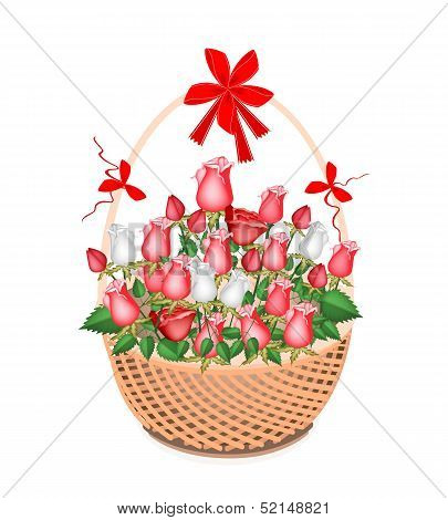 A Brown Basket of Lovely White and Red Roses