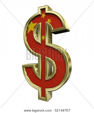 Dollar sign with China flag isolated on white. Computer generated 3D photo rendering.